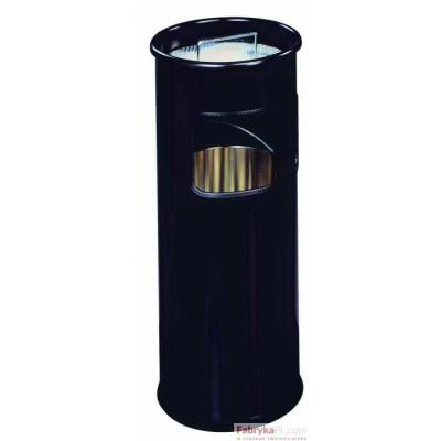 Kosz na śmieci 17 l DURABLE metalowy, okrągły, z popielnicą, kolor czarny