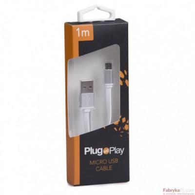 Kabel USB/MICRO USB 1M biały PLUG&PLAY
