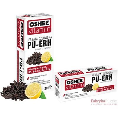 Oshee Vitamin herbata czerwona PU-ERH o smaku cytrynowym, 20 torebek x 1,75g
