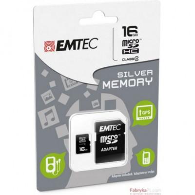 Karta pamięci EMTEC MicroSDHC z adapterem SD 16GB Silver Class 4