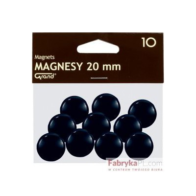Magnesy średnica 20 mm czarny 10 szt. Grand