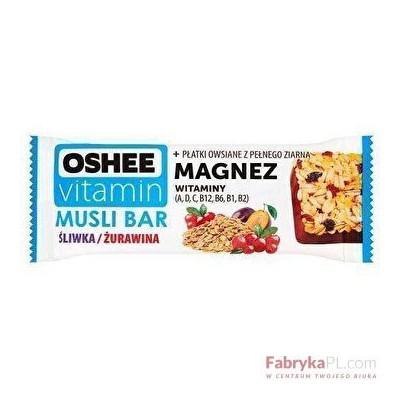 Oshee Vitamin Baton owocowy z witaminami Musli Bar 40g Śliwka/Żurawina