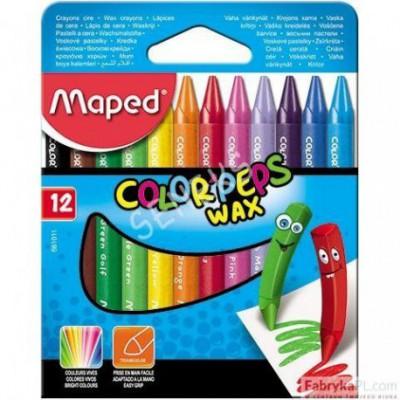 Kredki COLORPEPS świecowe 12 szt pudełko z zawieszką Maped