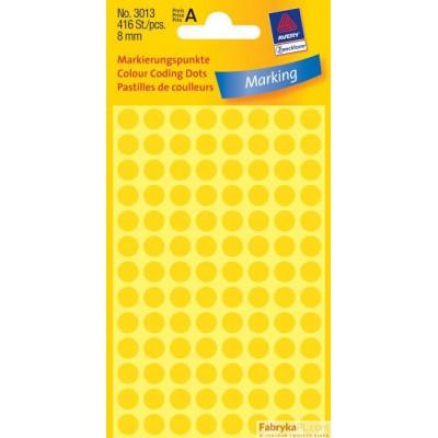 Trwałe kółka do zaznaczania Ø8mm, 416szt./op. żółte 3013 Avery Zweckform
