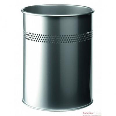 Kosz na śmieci DURABLE, metalowy, okrągły 15L srebrny