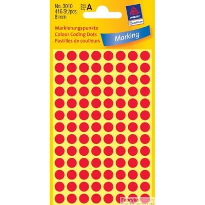 Trwałe kółka do zaznaczania Ø8mm, 416szt./op. czerwone 3010 Avery Zweckform