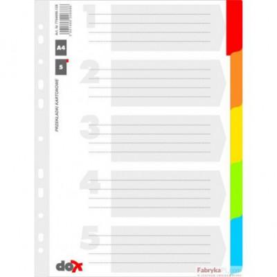 Przekładki karton 5 kartek z lamin. inexami DOX A4 KOLOROWE