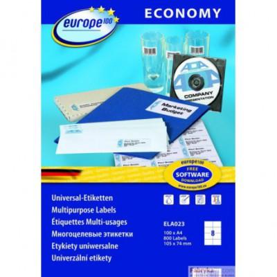 Etykiety AVERY ZWECKFORM uniwersalne Economy Europe100 by A4, 100 ark./op., 105 x 74 mm, białe