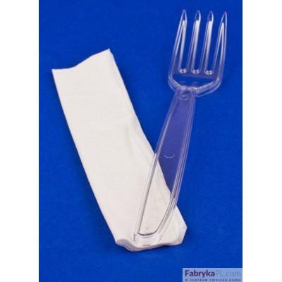 Widelec plastikowy jednorazowy przezroczysty (opakowanie 100szt)
