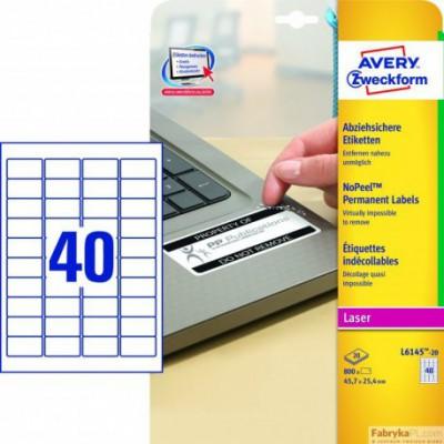 Etykiety AVERY ZWECKFORM NoPeel™ A4, 20 ark./op., 45,7 x 25,4 mm, białe