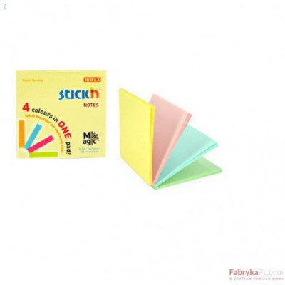 Notes samoprzylepny MAGIC PAD 76X76mm pastel mix (12) STICK'N