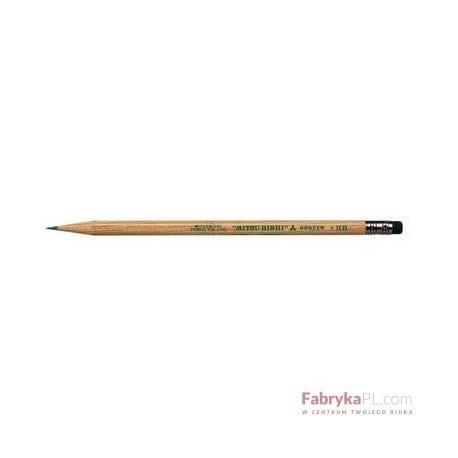 Ołówek z drewna cedrowego, ekologiczny, z gumką Uni 9852 UNI