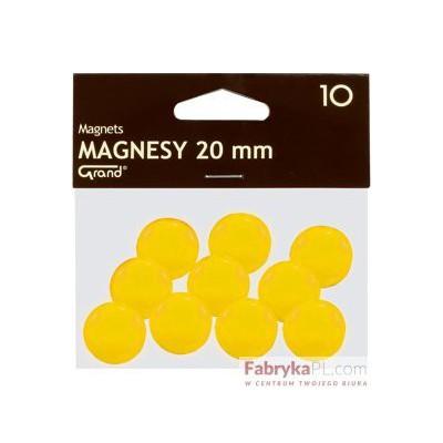 Magnesy średnica 20 mm żółty 10 szt. Grand