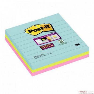 Karteczki samoprzylepne Post-it® Super Sticky XL Miami w linię 101x101 mm 3x70 karteczek