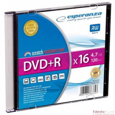 DVD+R ESPERANZA 4,7GB X16 - SLIM 1