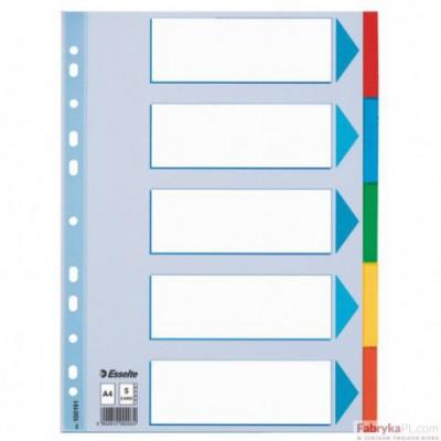 Przekładki, kolorowy karton z kartą opisową A4, ESSELTE, 5 kart