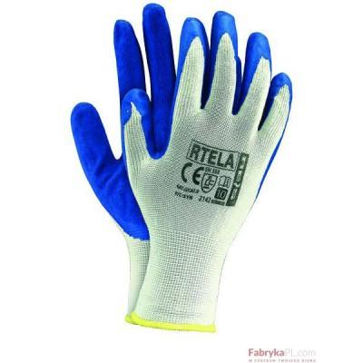 Rękawice powlekane RTELA biało-niebieski rozmiar 8 Reis