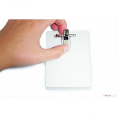 Identyfikator samolaminujący z samoprzylepnym kombi-klipem. 54x90 mm Durable
