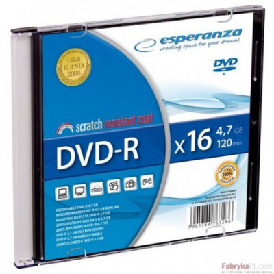 DVD-R ESPERANZA 4,7GB X16 - SLIM 1