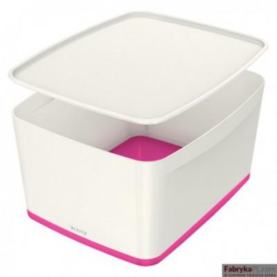 Pojemnik MyBOX duży z pokrywką biało-różowy Leitz