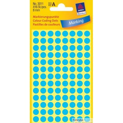 Trwałe kółka do zaznaczania Ø8mm, 416szt./op. niebieskie 3011 Avery Zweckform