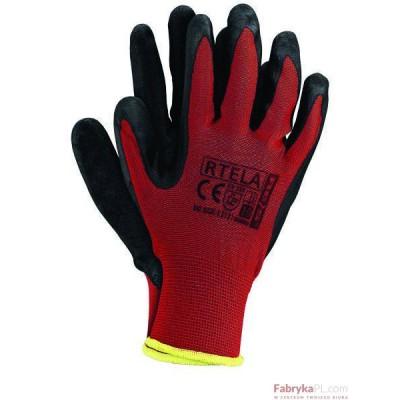 Rękawice powlekane RTELA czerwono-czarne rozmiar 10 Reis