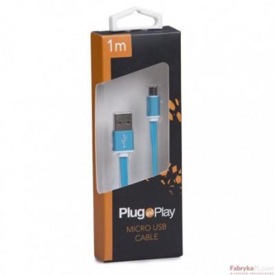 Kabel USB/MICRO USB 1M niebieski PLUG&PLAY