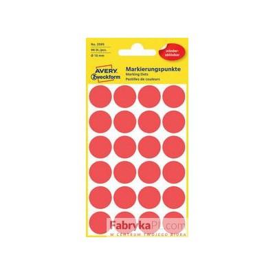 Usuwalne kółka do zaznaczania Ø18mm, 96szt./op. czerwone 3595 Avery Zweckform