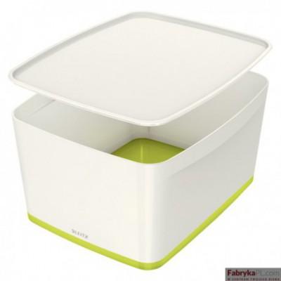 Pojemnik MyBOX duży z pokrywką biało-zielony Leitz