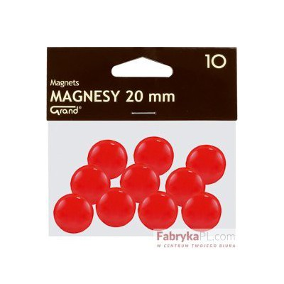 Magnesy średnica 20 mm czerwony 10 szt. Grand