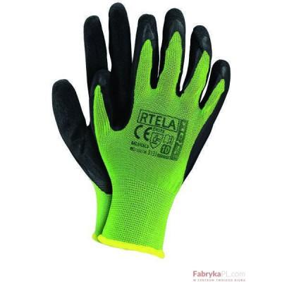 Rękawice powlekane RTELA limonkowo-czarne rozmiar 7 Reis