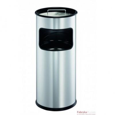 Kosz na śmieci 17l DURABLE metalowy, okrągły, z popielnicą, kolor srebrny